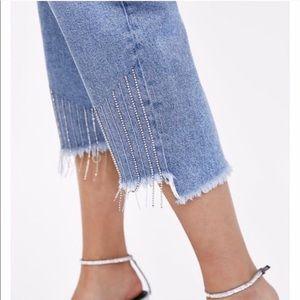 Zara Raw hem mom Rhinestone fringe trim jeans